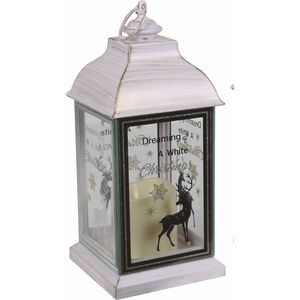 Christmas Lantern with LED Candle - Dreaming of a White Christmas