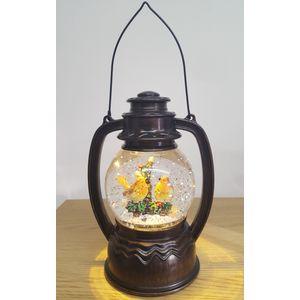 Christmas Lantern with LED Water Globe - Robins