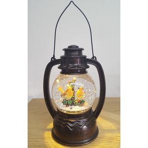 LED Christmas Lantern Water Globe - Robins