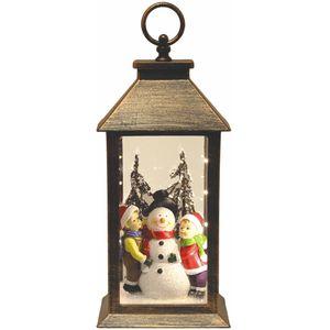 Christmas Lantern with Light Up Scene - Children & Snowman