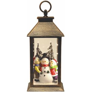 Light Up Christmas Lantern - Children & Snowman