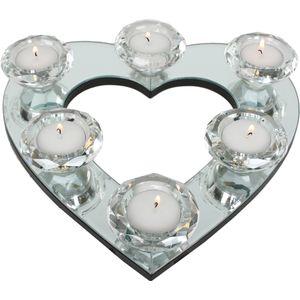 Heart Shaped Mirror Glass Tea Light Candles Holder