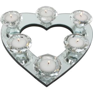 Mirror Heart 6 Tealight Candle Holder