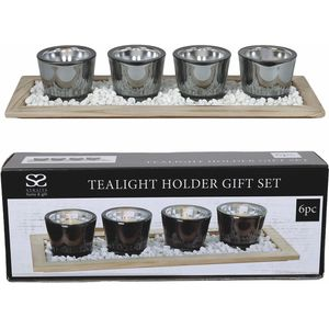 Tea Light Candle Holder Gift Set: 4 Holders in Decorative Tray