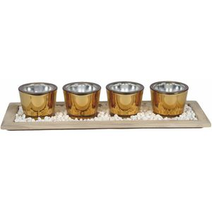 Tea Light Set - Four Candle Holders on Display Tray