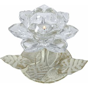 Tea Light Candle Holder - Clear Crystal Flower