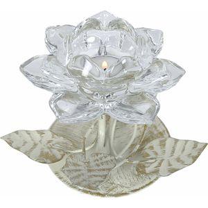 Tea Light Candle Holder - Clear Crystal Flower