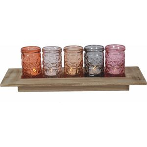 Tea Light Set - Five Candle Holders on Display Tray