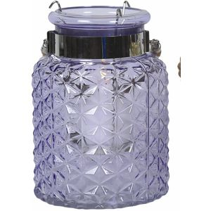 Glass Lantern Candle Holder - Purple