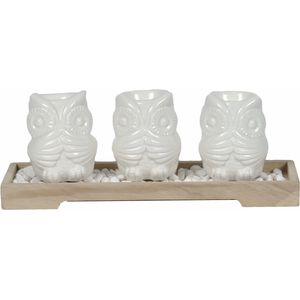 Trio of Owls Tealight Candle Holders on Tray