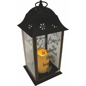 LED Light Up Lantern - Home (Black)