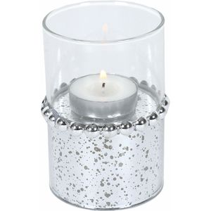 Tea Light Candle Holder 10cm - Silver Beaded