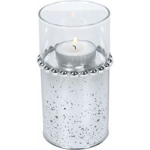 Tea Light Candle Holder 13cm - Silver Beaded