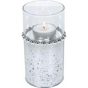 Tea Light Candle Holder 13cm - Silver Beaded