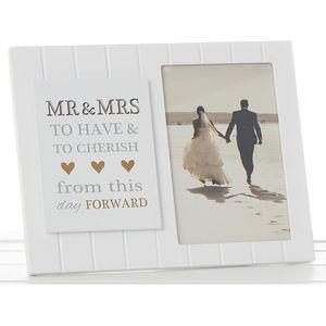 "Sentiment Wedding Photo Frame 4"" x 6"" - Mr & Mrs"