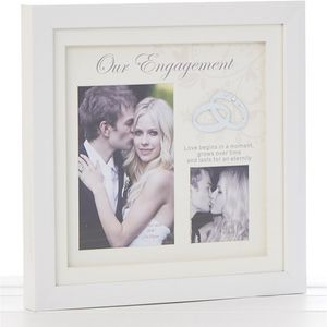 Our Engagement White Gloss Double Photo Frame