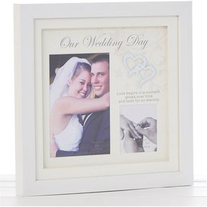 Double Photo Frame - Our Wedding Day (White Gloss)