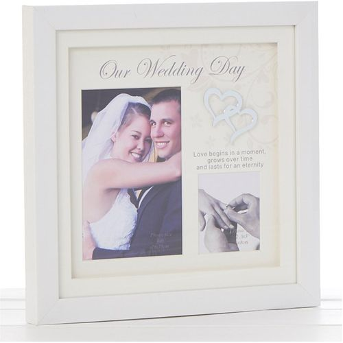 "Our Wedding Day Double Photo Frame Holds one 4"" x 6"" photograph and one 2.5"" x 3"" photograph"