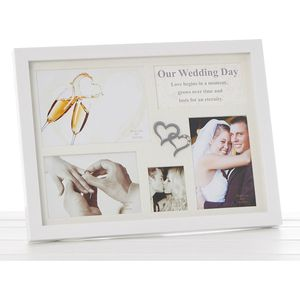 Collage Multi Photo Frame - Our Wedding Day White Gloss
