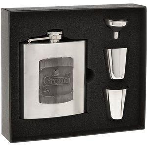 Hip Flask Funnel & 2 Cups Gift Set - Groom