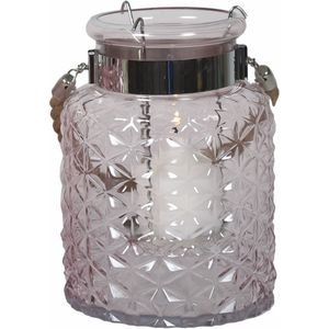 Glass Lantern Candle Holder - Pale Lilac