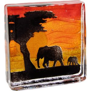 Caithness Glass Paperweight: Safari Elephants