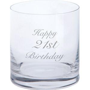 Dartington Crystal Tumbler Glass: Happy 21st Birthday