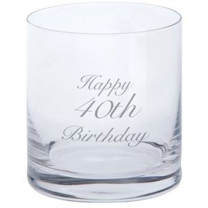 Dartington Crystal Tumbler Glass: Happy 40th Birthday