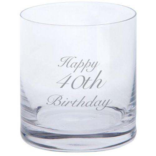 Tumbler - Happy 40th Birthday Glassware Dartington Crystal