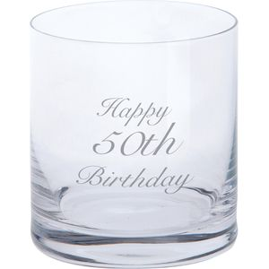 Dartington Crystal Tumbler Glass: Happy 50th Birthday