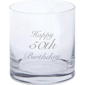 Dartington Glass Tumbler - Happy 50th Birthday