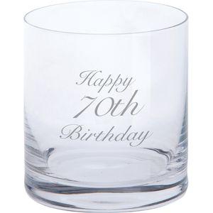Dartington Crystal Tumbler Glass: Happy 70th Birthday