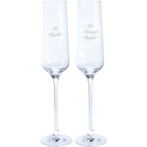Pair of Glass Flutes - Mr Right & Mrs Always Right