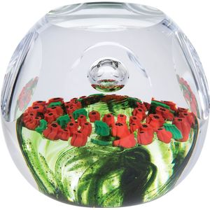 Caithness Glass Paperweight: Remembrance Poppy Garland