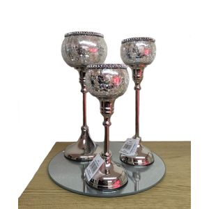 Set of 3 Antique Style Candle Holders (28cm)