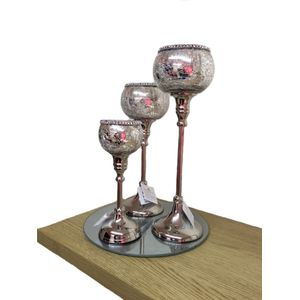 Set of 3 Antique Style Candle Holders (33cm)
