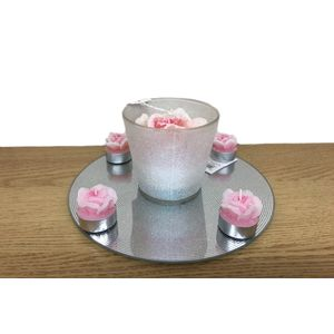 Pink Rose candle Table Centre Piece