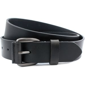 Leather Jeans Belt Gunmetal Buckle