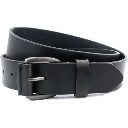 "Leather Jeans Belt Gunmetal Buckle: Black Size S Waist 32"" - 34"""