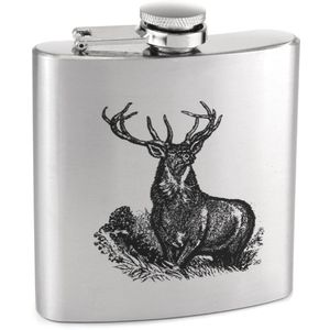 Stainless Steel Hip Flask 6oz - Stag