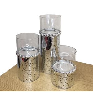 Set of 3 Silver Beaded Tealight Candle Holders