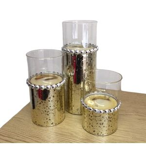 Set of 3 Tea Light Candle Holders - Gold Beaded