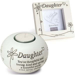 Said with Sentiment Candle Holder & Frame: Daughter