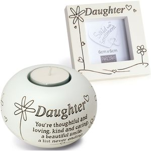 Tealight & Photo Frame Gift Set - Daughter