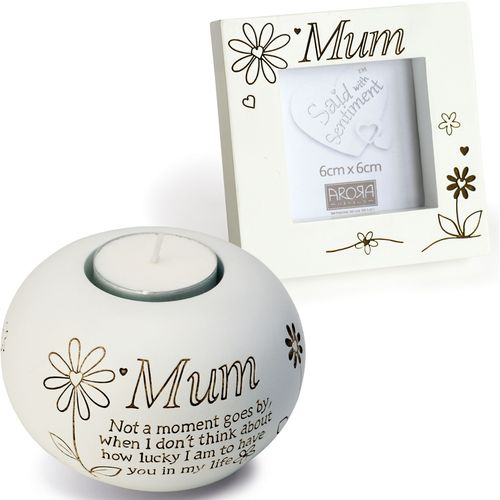 Said with Sentiment Candle Holder & Photo Frame: Mum