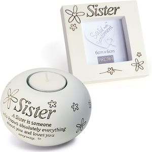 Tealight & Photo Frame Gift Set - Sister