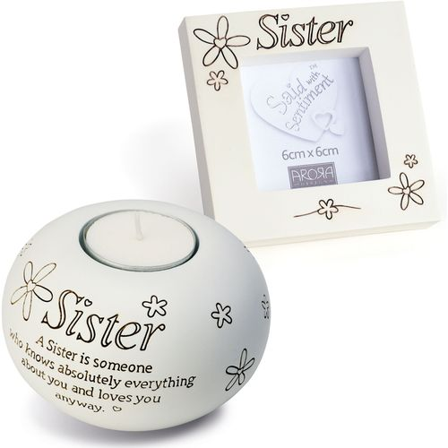 Said with Sentiment Candle Holder & Photo Frame Gift Set: Sister