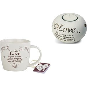 Said With Sentiment Love Mug & Candle Holder Set