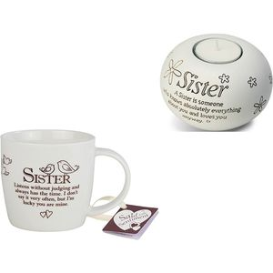 Said With Sentiment Sister Mug & Candle Holder Set