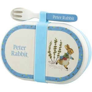 Beatrix Potter Peter Rabbit Organic Bamboo Snack Box & Cutlery Set - Peter